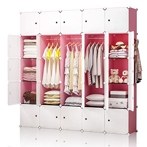 YOZO Modular Closet Plastic Dresser for Kids Teenagers Portable Wardrobe Cube Storage Organizer Book Shelf Toy Cabinet, 25 Cubes, Depth 14 inches, Pink