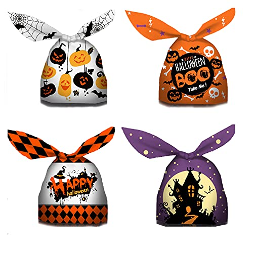 SHONCO 40 Pieces PEVA Thicken Halloween Sweet Bags, Funny Pumpkin Gift Bags for Halloween Party, Happy Halloween Treat Bag for Sweet Cookie, 4 Design
