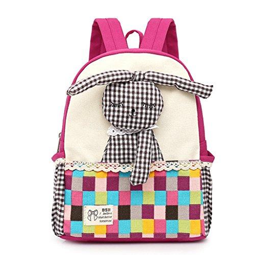 Vans Mochila,Linda Chica Mochila,Bolsa de Escuela de Lona para niños Mochila Mochila para niños pequeños Mochila Preescolar de guardería,Conejo 3D (1-5 años de Edad)-Rosa