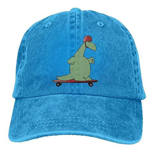 ACATCONDY Dinosaurier-Schutzhelm IDE-Platte Vintager Fernlastfahrer-Hut gewaschener Denim-Erwachsener Baseballmütze-Entwurf