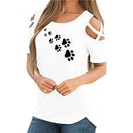ASOBIMONO Women's Strappy Cold Shoulder Casual Summer O-Neck T-Shirt Short Sleeve Basic Tee...