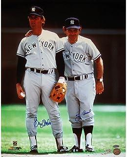 MLB New York Yankees Graig Nettles with Yogi Berra Dual Signed Road Jersey Vertical Photograph, 6x20-Inch
