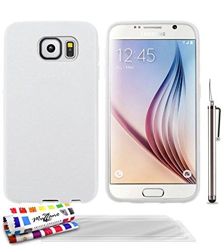 MUZZANO Original Glossy-Cover Ibrida Flessibile, con 3 pellicole di Protezione per Lo Schermo, Ultra Trasparenti, per Samsung Galaxy, S6, Colore: Bianco