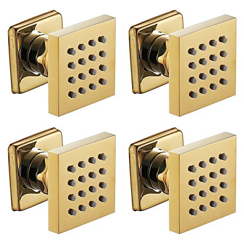 Cabezal de ducha dorado para baño, grifo de columna, grifo de baño, grifo mezclador de chorros de spa de masaje dorado, 4 unidades