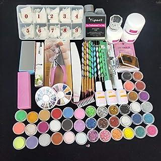 XSWY Professional 42 Acrylic Liquid Powder Glitter Clipper Primer File Nail Art Tips Tool Brush Tools Set Kit New (Color : Set NO.1 Nature Tips)