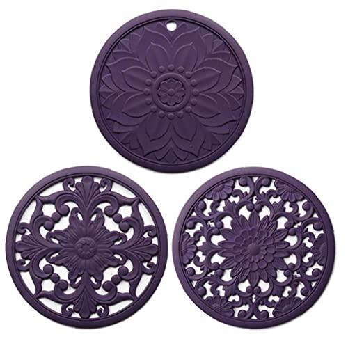 AUCDK Salvamanteles Mat Pot Cojín del Aislamiento De Calor Coaster Hueco Tallado De Silicona Antideslizante Flexible para 3pcs Encimera Púrpura