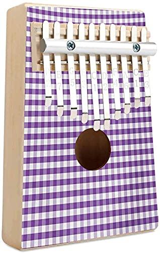 Mantel a cuadros Kalimba 10 teclas Piano de pulgar Color morado y blanco Cuadros de cuadros de cuadros hileras Tema de picnic Estilo vintage Impresión Mbira Piano de dedo Regalo para niños Adultos Pr