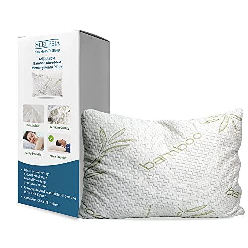 Almohada de bambú – Almohadas premium para dormir – Almohada de espuma viscoelástica con funda de almohada lavable – Ajustable (King)