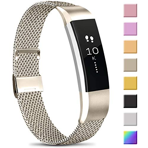 Meliya Replacement Metal Bands Compatible with Fitbit Alta/Fitbit Alta HR, Stainless Steel Metal Replacement Wristbands for Women Men (Small, 01 Vintage Gold)