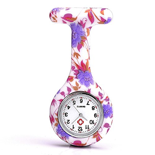 JSDDE Uhren,Krankenschwester FOB-Uhr Damen Taschenuhr Analog Quarzuhr aus Silikon,Lila-Rot Blumen
