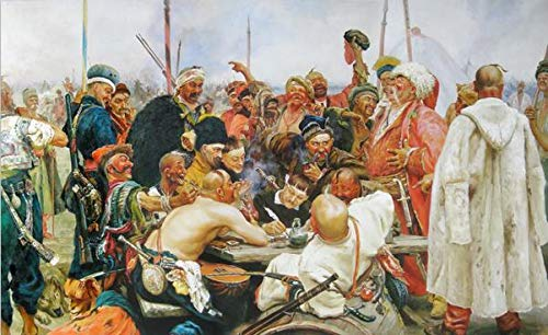 N / A Ilya Repin, Russian oil painting The response of the Cossacks of Zaporozhye to Sultan Mohammed IV Art prints Picture frameless decorative canvas painting on the canvas wall A20 40x60cm