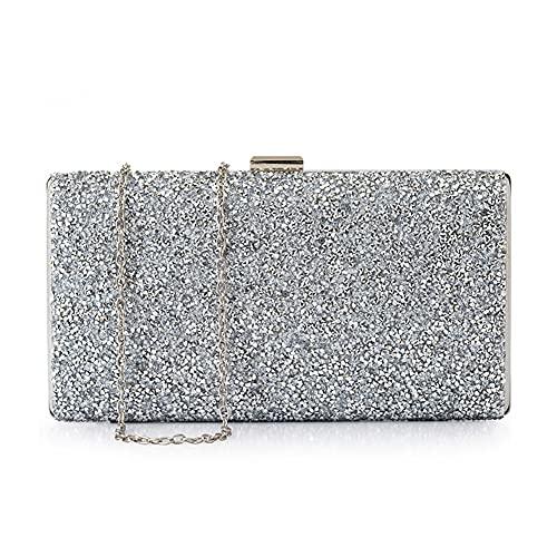 Ancdream - Bolso de mano de noche con diamantes de imitación para mujer, bolso de boda, bolso de fiesta de graduación, bolso de fiesta (Plateado)
