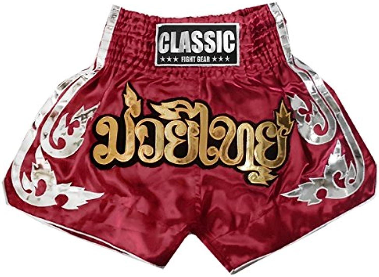 Classic Muay Thai Kick Boxen Hosen Shorts   CLS-015-Maroon CLS-015-Maroon CLS-015-Maroon Größe L B00ZZ56068  Schön a415fb