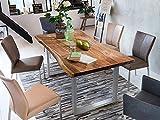 SAM Baumkantentisch 200x100 cm Quarto, nussbaumfarbig, Esszimmertisch aus Akazie, Holz-Tisch mit silber lackierten Beinen - 5