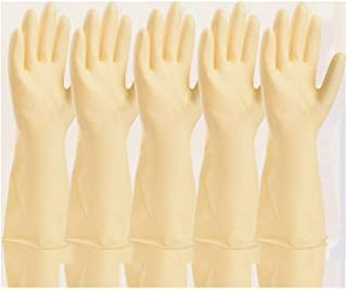 Industrial Gloves Thick Plastic Protective Wear-Resistant Waterproof Latex Gloves, 5 Pairs (Color : White, Size : S)