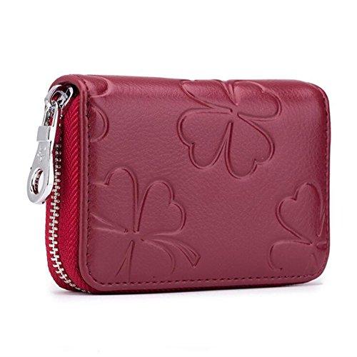 AprinCtempsD RFID Cartera Tarjeteros Mini Mujer Cuero Genuino Monedero Pequeñas Piel Genuino Portatarjetas con Cremallera (Rojo Vino)