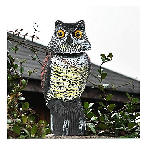 WING Vogelscheuche Eule, Eule Lockvogel mit Drehbar Kopf, Vogelabwehr Wildtierabwehr, Super Effektiv für Elstern, Krähen und Tauben