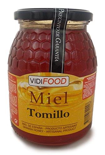 Thymian Roher Honig - 1kg - In Spanien gesammelt - Feinste Qualität, Hausgemacht & 100% rein - Blumiges Aroma und reicher, süßer Geschmack - Große Vielfalt an leckeren Geschmäckern