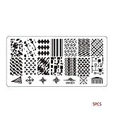 Qimao 5pcs / Set Flor geometría búho del Clavo Que Sella la Placa DIY del Clavo del Metal del rectángulo Plantillas manicura del Arte Plantillas polacas Decoración