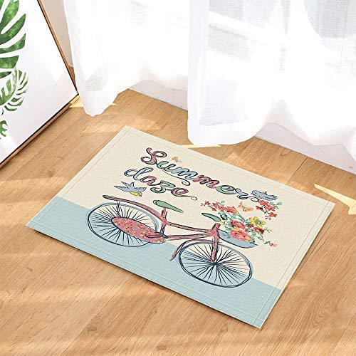 gohebe Summer Day Teppiche und Fahrrad-Blume Vogel und Mode Rutschfeste Fußabtreter mit Entryways Innen-Tür-Matte für Kinder Badteppich mit X-23.6in Badezimmer Zubehör