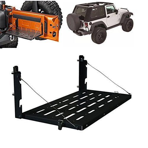 Wrangler JK JKU TJ Tailgate Table Aluminum Alloy Matte Black Rear Foldable Back Shelf for Holding Drink,Tools