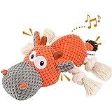 Iokheira Spielzeug für Hunde, Interaktives Hundespielzeug, stabiles Quietschende Hundespielzeuge mit Baumwollstoff und Knitterpapier, Kauknochenspielzeug für große und kleine Hunde
