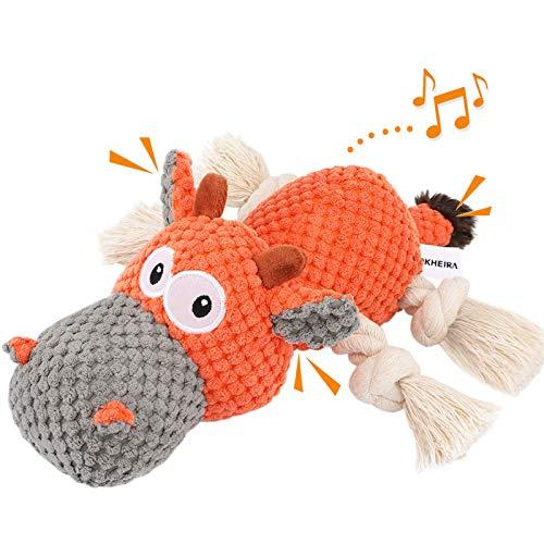 Iokheira Spielzeug für Hunde, Interaktives Hundespielzeug, stabiles Quietschende Hundespielzeuge mit Baumwollstoff und Knitterpapier, Kauknochenspielzeug für große und kleine Hunde.
