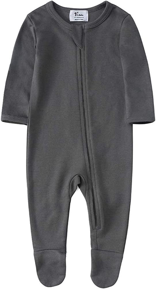 O2Baby Baby Boys Girls Organic Cotton Zip-Front Sleeper Pajamas, Footed Sleep 'n Play