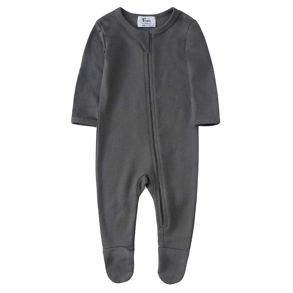 O2Baby Baby Boys Girls Organic Cotton Zip Front Sleeper Pajamas Footed Sleep n Play