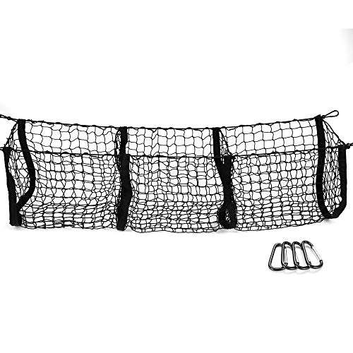 MICTUNING MIC-CN-229 Three 3 Pocket Trunk Organizer Storage Heavy Duty Cargo Net for Car, SUV, Pickup Truck Bed-Black Mesh with Free 4 Metal Carabiners