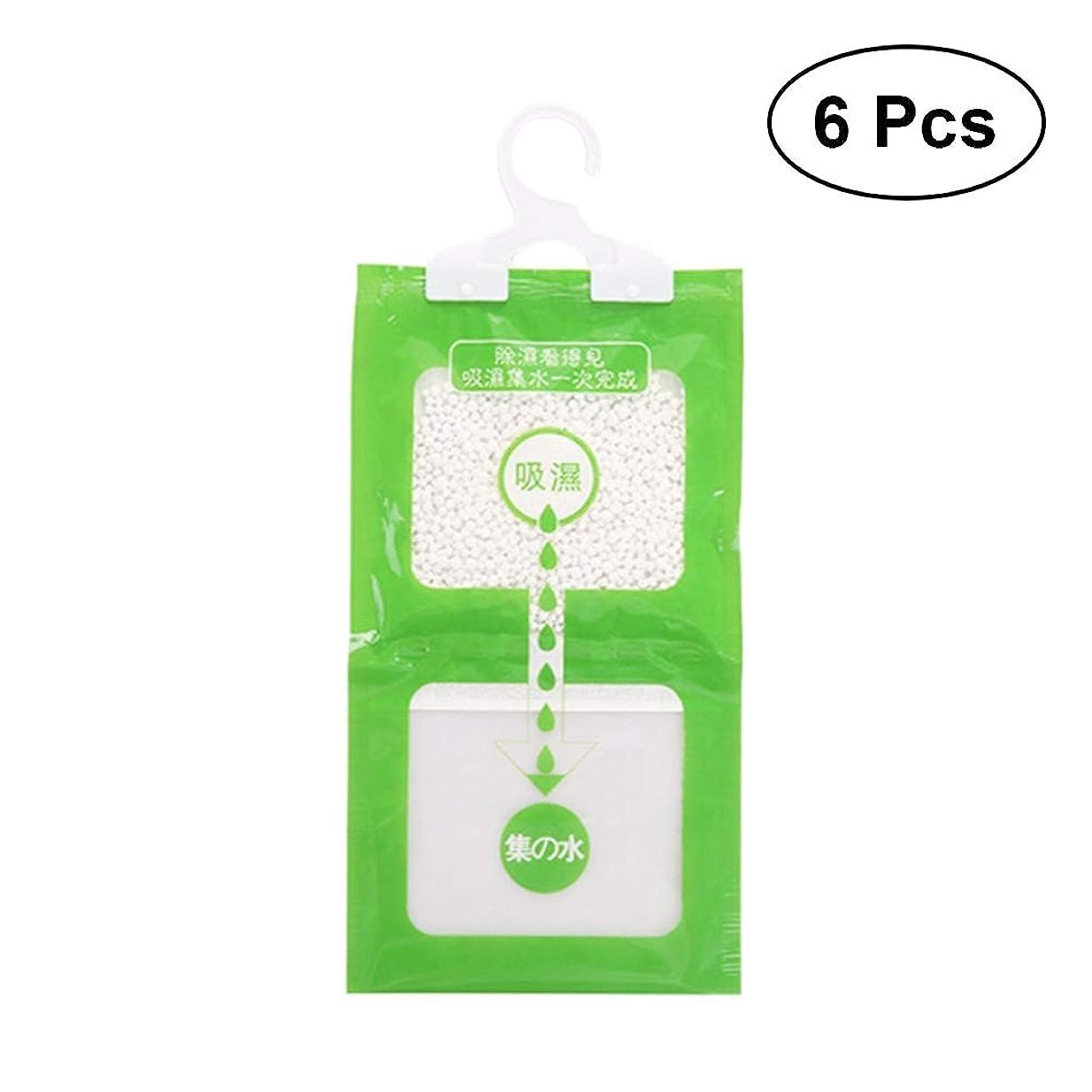 ヒステリック永遠に利得Healifty ハンギングモイスチャーアブソーババッグワードローブ除湿器吸湿性アンチモールドデシカントグリーン6個
