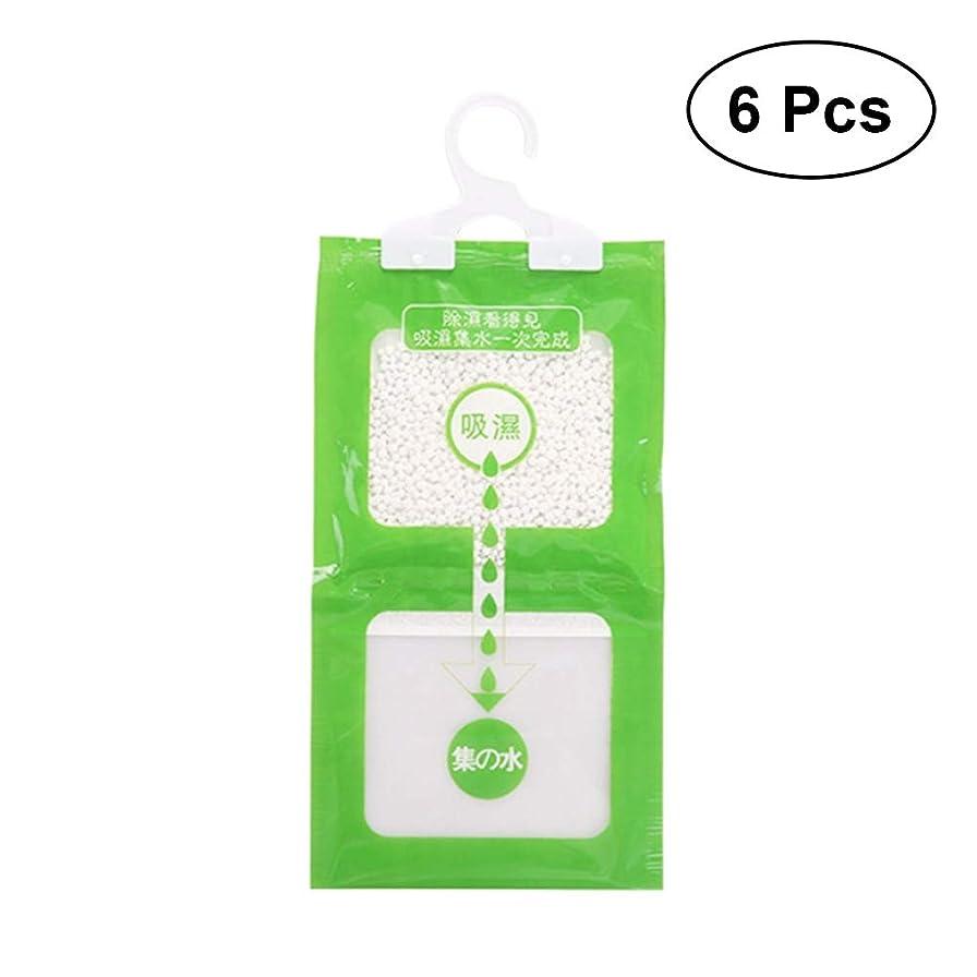 一特徴うがい薬Healifty ハンギングモイスチャーアブソーババッグワードローブ除湿器吸湿性アンチモールドデシカントグリーン6個