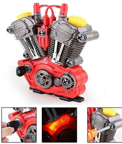 Brigamo 1183 - Kinderwerkzeug Set KFZ Werkzeugkasten mit Spielzeug Werkzeug - BAU dir deinen funktionierenden Motor mit Licht & Sound