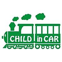 imoninn CHILD in car ステッカー 【シンプル版】 No.19 汽車 (緑色)