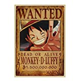 AMA-StarUK36 Anime One Piece Wanted Sticker Posters Luffy