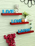 Home Sparkle Live Love Laugh Wooden Shelf (Red and Blue) (Sh1323)