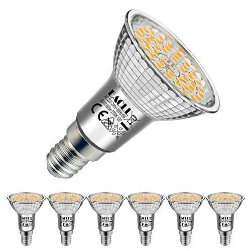 EACLL E14 LED 2700K Warmweiss 6W Leuchtmittel 695 Lumen Birnen kann Ersetzen 60W Halogen Glühbirnen. AC 230V Kein Strobe Energiesparlampe, Abstrahlwinkel 120 ° Strahler, R50 Reflektor Lampen, 6 Pack