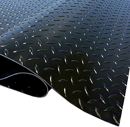 IncStores Standard Grade Nitro Garage Roll Out Floor Protecting Parking Mats (5' x 7.5', Diamond Midnight Black)