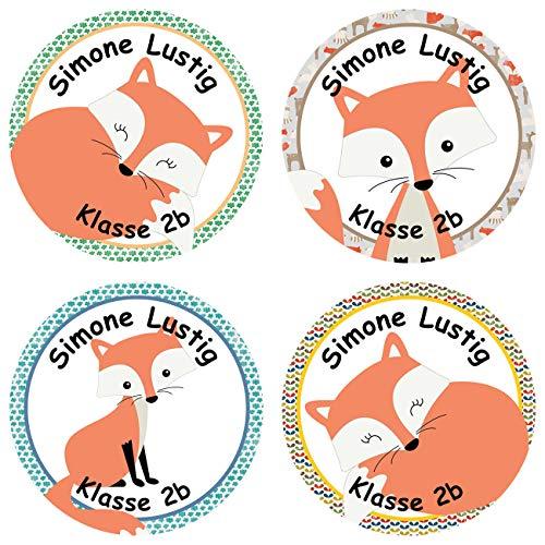 Papierdrachen 24 individuelle Aufkleber für Kinder - Motiv Fuchs - personalisierte Sticker - ideal zur Einschulung und zum Beschriften von Büchern und Heften