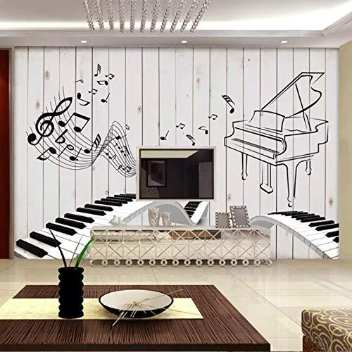 LYBH Papel pintado mural 3D foto adhesiva fondo de guitarra instrumento música nostálgico pintado a mano 350x256 cm (ancho x alto) niños papel pintado de dibujos animados arte pintura decoración ho