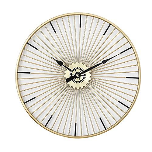XIN XIN Orologio da Parete Moderno Orologio Rotondo in Ferro Battuto Dorato Movimento A Rotazione No Tick Sun Design, No Mirror Adatto per Soggiorno, Bagno, Cucina