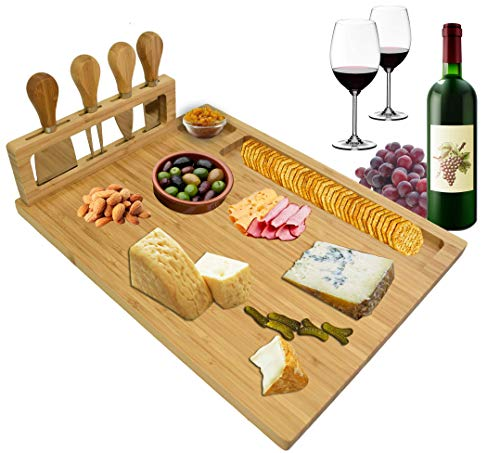 ROYAL HOUSE Unique Bamboo Cheese Board and Knife Set – Serving Tray for Crackers, Meat, and Wine...