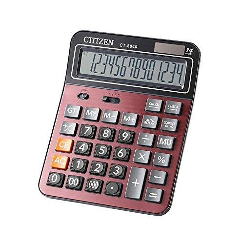 Electronic Desktop Calculator with 14-Digit Large Display, Solar and AA Battery Dual Power Standard, Handheld Function Desktop Calculator (Deep Red)