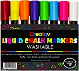 Liquid Chalk Markers Chalkboard Pens - 8 Pack Window Marker Chalk Pens for Blackboards Erasable Chalk Blackboard Pen Chalkboards Washable Wet Dry Erase Glass Markers Non Toxic Safe & Easy to Use