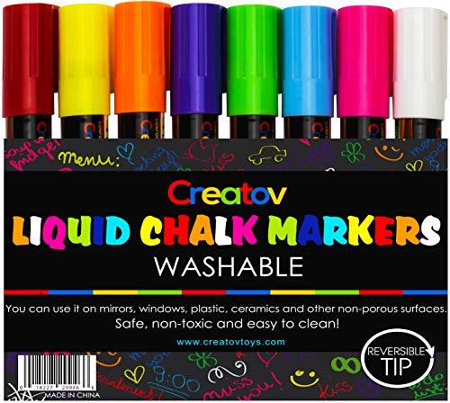 Liquid Chalk Markers Chalkboard Pens - 8 Pack Window Markers Chalk Pens for Blackboards Erasable Chalk Blackboard Pen Chalkboards Washable Wet Dry Erase Glass Markers Non Toxic Car Window Markers