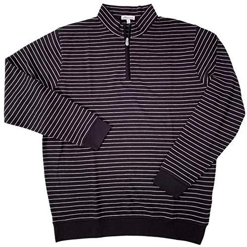 PETER MILLAR Men's Crown Halifax Stripe L/S 1/4 Zip Cotton/Modal L/S Pullover Sweater Black Large