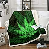 Castle Fairy Cannabis Marijuana Sherpa Fleece Throw Blanket Weed Leaf Winter Warm Cozy Plush Thermal Blanket Vibrant Green Soft Fuzzy Bed Throw Blanket for Couch Sofa and Bed Throw(50'x60')