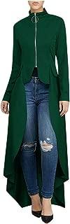 Kauneus Women's Fashion Premium Shirt Dress Zipper High Neck Long Sleeve High Low Irregular Maxi Dress Creative Tunic Tops