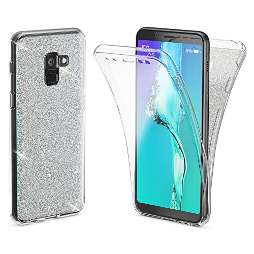 NALIA 360 Grad Hülle kompatibel mit Samsung Galaxy A8 2018, Glitzer Handyhülle Full Cover vorne und hinten Doppel-Schutz, Ganzkörper Hülle Silikon Transparenter Bildschirmschutz, Farbe:Transparent