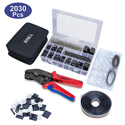 Crimpzange Dupont Stecker Set SN-28B Crimping Tool mit 2030pcs Dupont Steckverbinder und Crimp Pins Stiftleiste, 460 pcs JST-XH Stecker Kit + 5M 10pin Dupont Kabel, Crimpzange für 0,14-1 mm²